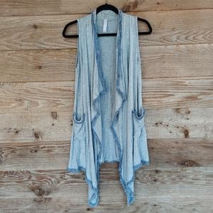 Heather Gray Open Cardigan with Frayed Trim Small